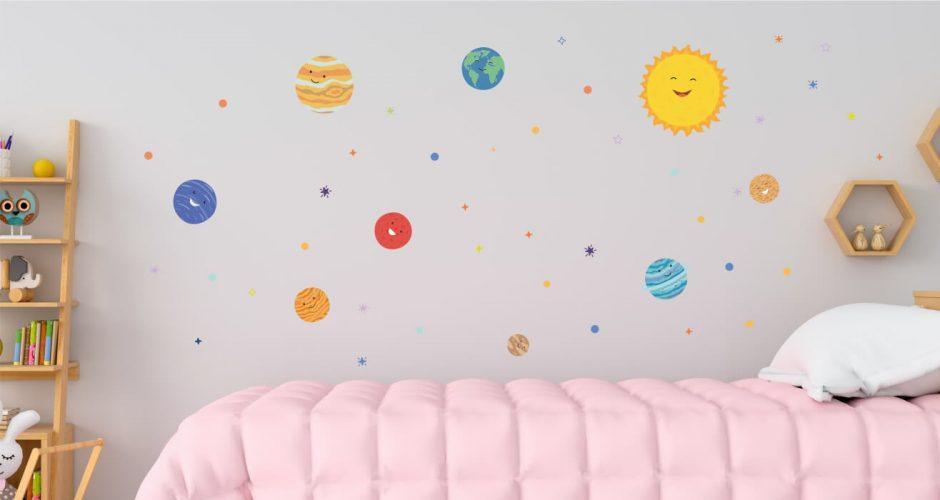 Αυτοκόλλητα Τοίχου - Χαμογελαστό Ηλιακό Σύστημα! Παιδικό αυτοκόλλητο τοίχου