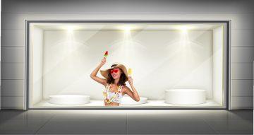"""Αυτοκόλλητα καταστημάτων - Αυτοκόλλητο βιτρίνας """"summer mood"""""""