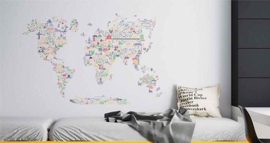 Αυτοκόλλητα Τοίχου - Παγκόσμιος Χάρτης με τα αξιοθέατα του κόσμου - Αυτοκόλλητος Χάρτης